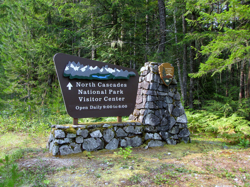sign visiters center of North Cascades National Park, Washington