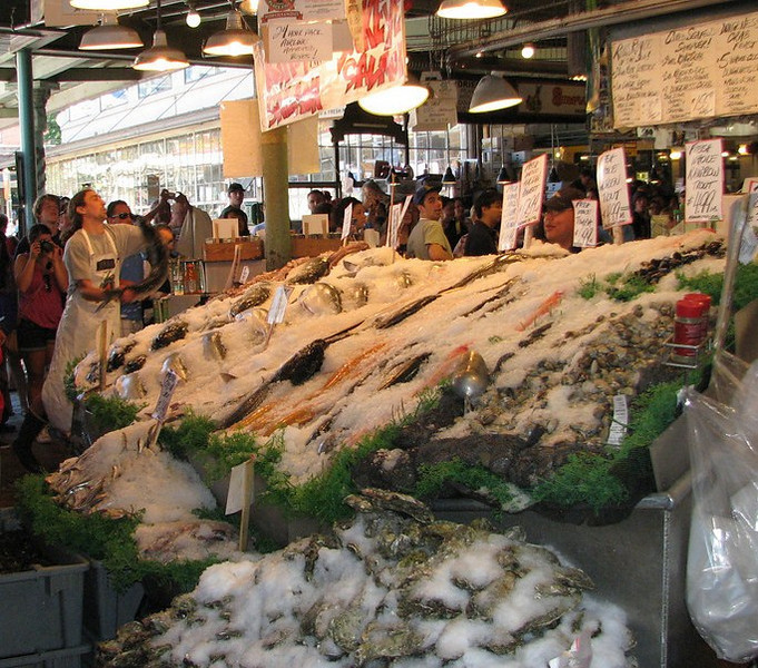 Fish-throwing at Pike Place Fish Market, Seattle, Washington