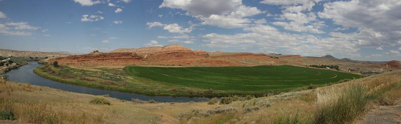 Irrigation works in a semi-desert landscape