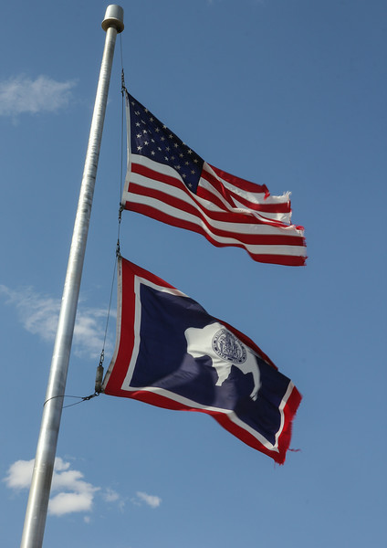 National- and State flag of Wyoming
