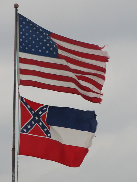 Stars and stripes with flag of the state Mississippi