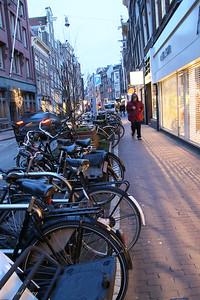bicycles everywhere! A hazard to pedestrians!
