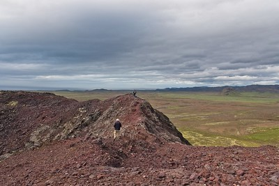 On the rim of the crater.