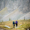 The snow had picked up again by the time we reached Citadel Pass as we started to catch up to backpackers heading into the Assiniboine core area.