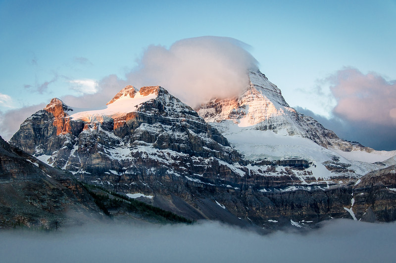 And finally, on our last morning at the lodge, we were treated to some sunrise colours.  Each morning up to this point Mount Assiniboine had been either hidden completely, or clouds blocked the morning light from hitting the face.