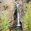 On the trail from the core area up to Wonder pass is a canyon with a number of waterfalls.  Here the larch frame one such waterfall.  Some of the larch were beginning to turn, but for the most part, we were too early for the fall colours.  We would go through this section again the following day on our run out.