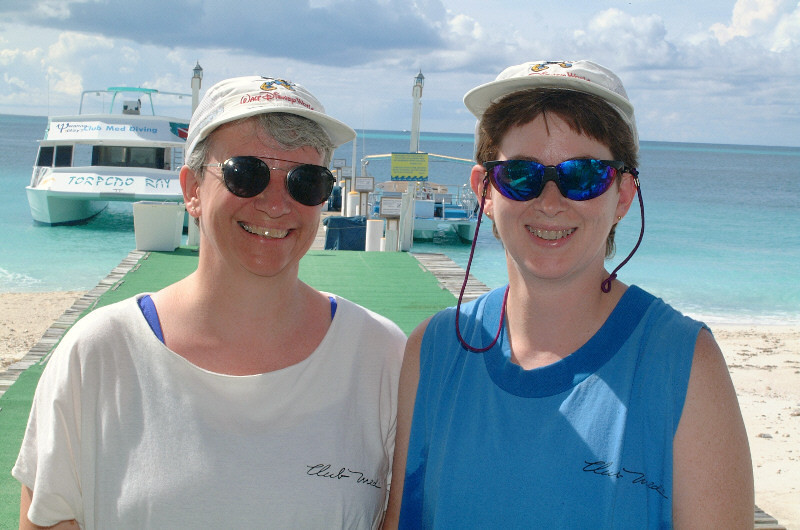 Patti and Jeane heading for the snorkel boat.