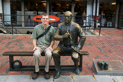 Red Auerbach monument at Quincy Market in Boston... This is a recreation of a photo I have of myself from 1992.