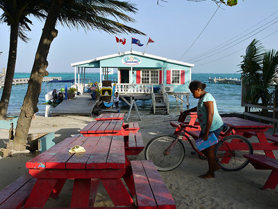 Beach front.  San Pedro, Ambergris Caye.