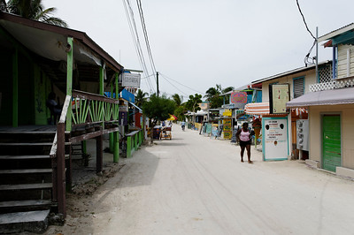 The main drag on Caye Caulker.