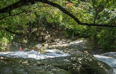 Rapelling Bocawina Falls, Belize.