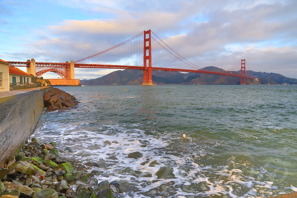 A picture of the San Francisco Golden Gate Bridge taken from the Presidio