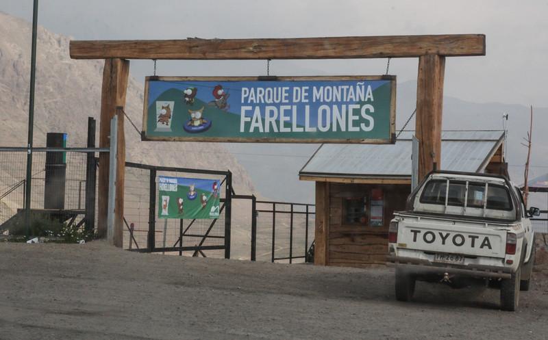 Entrance mountain park Farellones
