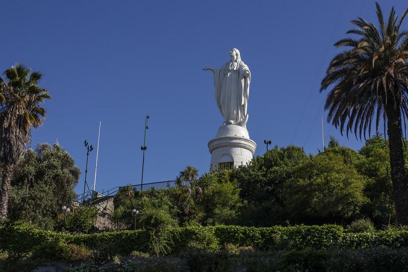 Statue of the Virgin Mary on the top of Cerro San Cristóbal