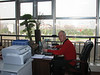 """workplace with our new """"bonsai tree"""" and orchids on the desk, ICVC, Huainan"""