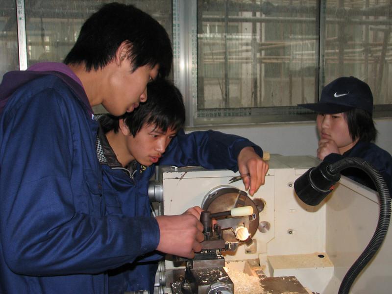 working with a lathe, ICVC, Huainan