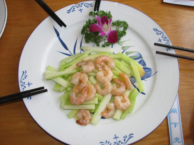 shrimps, China dish