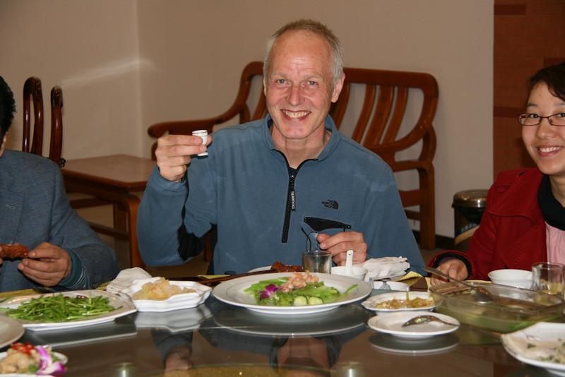 raise one's glass, toast with moutai (40%), welcome diner ICVC, Huainan welcome diner ICVC, Ms Hu, Bobo, Huainan