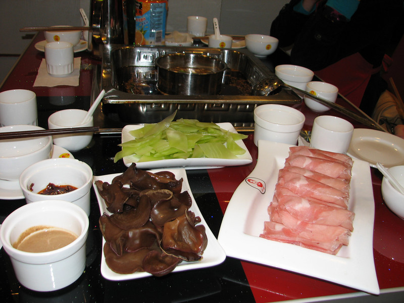 "mushrooms (shelf fungus) vegetable and ham, China dish, ""Hot Pot"" restaurant, Huainan"