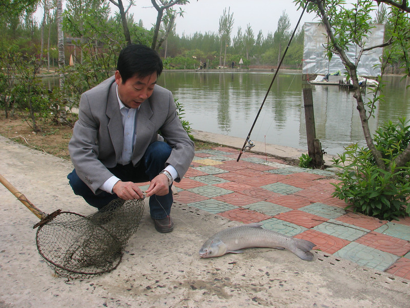 Mr. Wang, the fishingchampion. Fishing with team of ICVC, Huainan