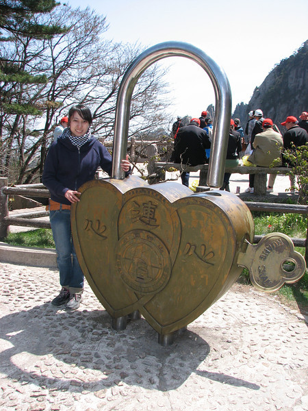 Emily and a lovers lock, Natonal Park Huangshan, Anhui, East China