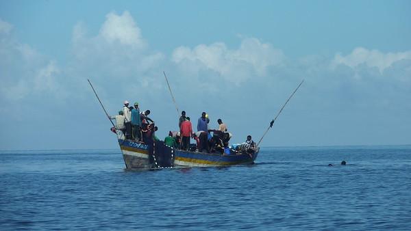 Crowded fishing boat