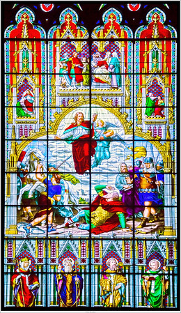 Stained glass inside the Cologne Cathedral