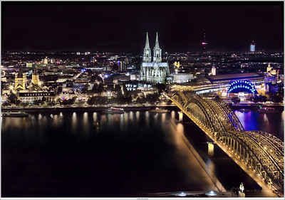 View on the grand Cologne Cathedral from the Köln Triangle tower