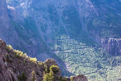The switchbacks below Black Bear Pass seen from Imogene Pass Rd.
