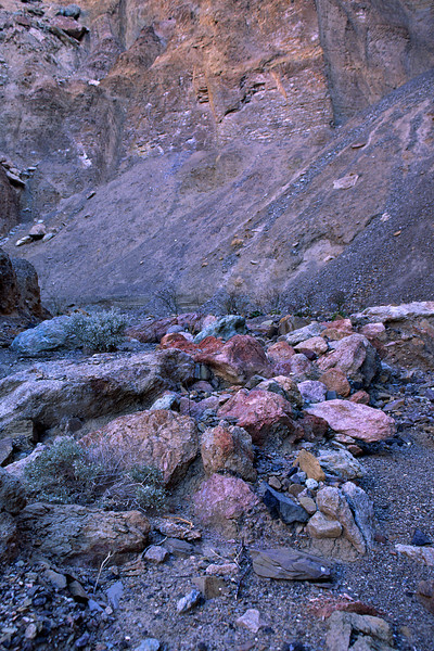 These rocks as a sample of the various colored strata further up the canyon.