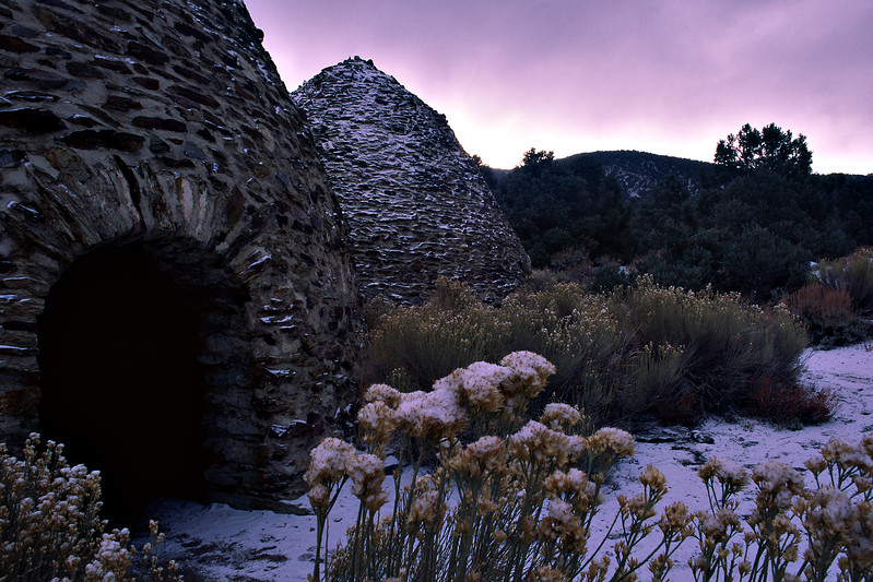 Charcoal kilns high in the Panamint Mountains are dusted with snow.
