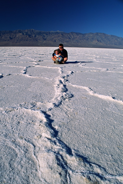 John III and John IV sit on the salt pan of Badwater at 282 feet below sea level.