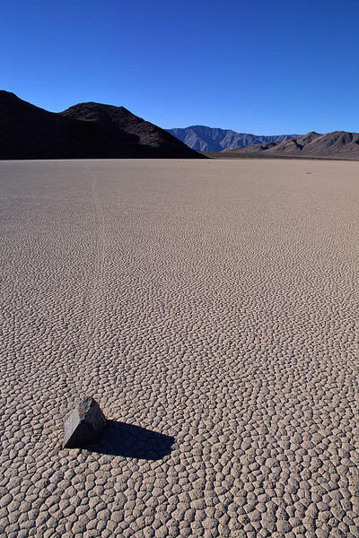 Large rocks leave mysterious tracks in the hardened mud of Racetrack Playa.