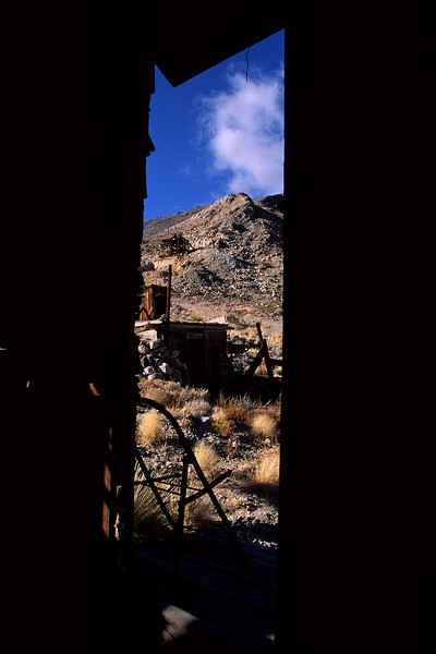 A view from inside the cabin of the Lost Burro Mine.
