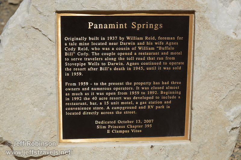 Plaque describing the history of Panamint Springs. (3/17/2013, Panamint Springs Resort, Death Valley Trip)<br /> <br /> EF24-105mm f/4L IS USM @ 82mm f/8 1/500s ISO125