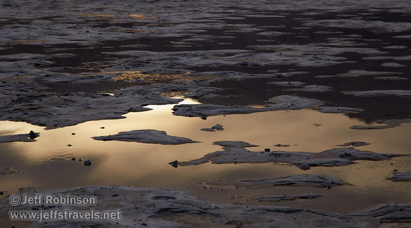 Light reflecting in puddles/pools in the salt flat, with the rough textured salt flats beyond (a bit like the Devils Golf Course). (3/19/2013, West Side Road, Death Valley NP)<br /> EF24-105mm f/4L IS USM @ 97mm f/7 1/125s ISO400