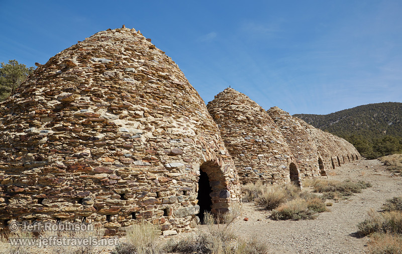 Front view of the row of the 10 charcoal kilns. Each beehive-shaped kiln is about 25 feet high. (3/19/2013, Charcoal Kilns, Wildrose Canyon, Death Valley NP)<br /> EF24-105mm f/4L IS USM @ 24mm f/11 1/125s ISO200