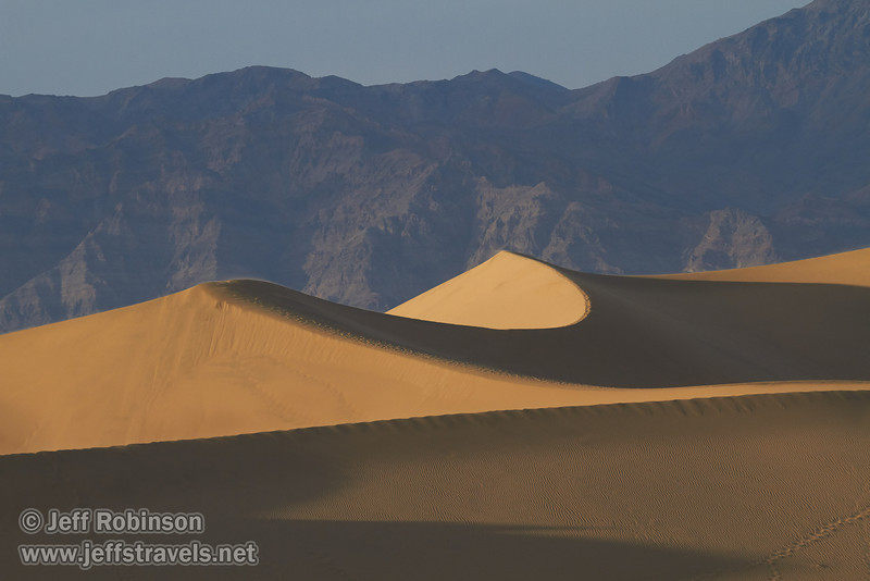 Late sun on the largest of the Mesquite Flat Sand Dunes, with the Grapevine Mountains of the Amargosa Range in the background. (3/19/2013, Mesquite Flat Sand Dunes, Death Valley NP)<br /> EF100-400mm f/4.5-5.6L IS USM @ 190mm f/8 1/640s ISO400
