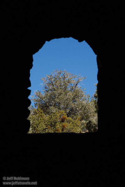 View of trees out the back window of one of the kilns. Each beehive-shaped kiln is about 25 feet high. (3/19/2013, Charcoal Kilns, Wildrose Canyon, Death Valley NP)<br /> EF24-105mm f/4L IS USM @ 105mm f/8 1/200s ISO100