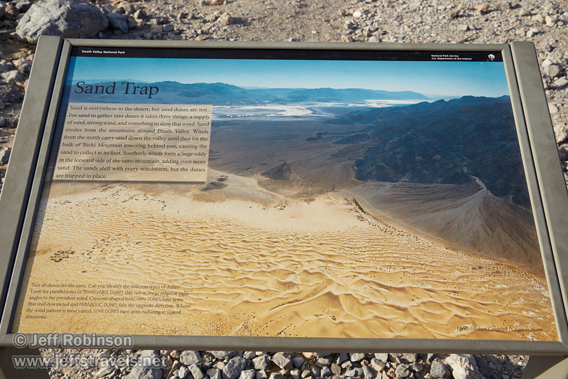"""Sand Trap"" sign describing the creation of sand dunes. (3/19/2013, Mesquite Flat Sand Dunes, Death Valley NP)<br /> EF24-105mm f/4L IS USM @ 32mm f/10 1/200s ISO200"