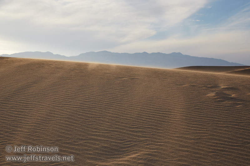 Late sun highlights sand blowing over the ripples of a dune. (3/19/2013, Mesquite Flat Sand Dunes, Death Valley NP)<br /> EF24-105mm f/4L IS USM @ 60mm f/8 1/640s ISO400