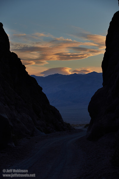 Sunset clouds in blue sky over the Panamint Range, seen through the exit of Titus Canyon. (3/20/2013, Titus Canyon, Death Valley NP)<br /> EF70-200mm f/2.8L IS II USM @ 90mm f/5.6 1/160s ISO200