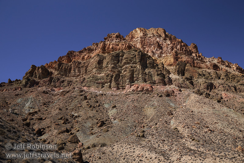 Clear layers of rock help define the desert mountains with their shades of reds, browns, yellows, and grays under deep blue sky. (3/21/2013, Titus Canyon Road, Death Valley NP)<br /> EF24-105mm f/4L IS USM @ 35mm f/7 1/250s ISO200