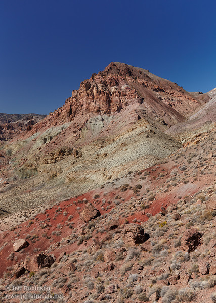 Mountains and hillsides including hues of yellows, greens, reds, and browns under deep blue sky. (3/21/2013, Red Pass, Titus Canyon Road, Death Valley NP)<br /> EF24-105mm f/4L IS USM @ 45mm f/7 1/200s ISO200