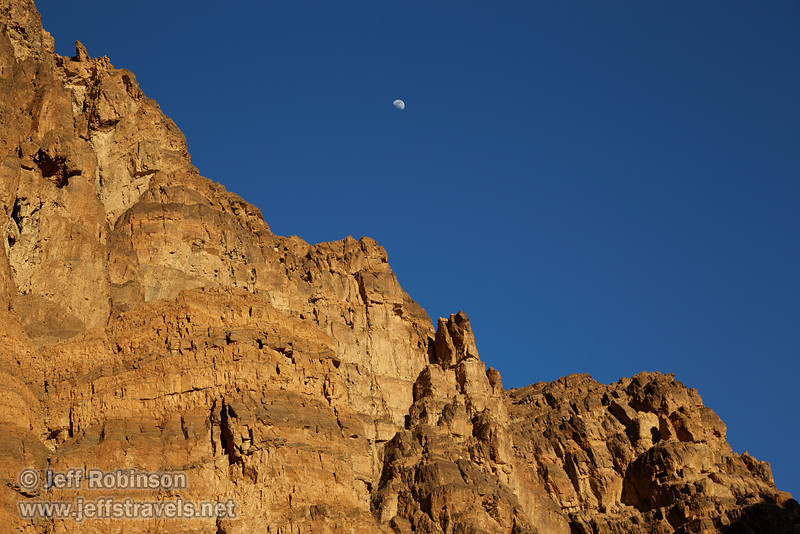Late sun on a cliff with the moon above it in deep blue sky. (3/21/2013, Titus Canyon, Titus Canyon Road, Death Valley NP)<br /> EF24-105mm f/4L IS USM @ 60mm f/7 1/160s ISO100