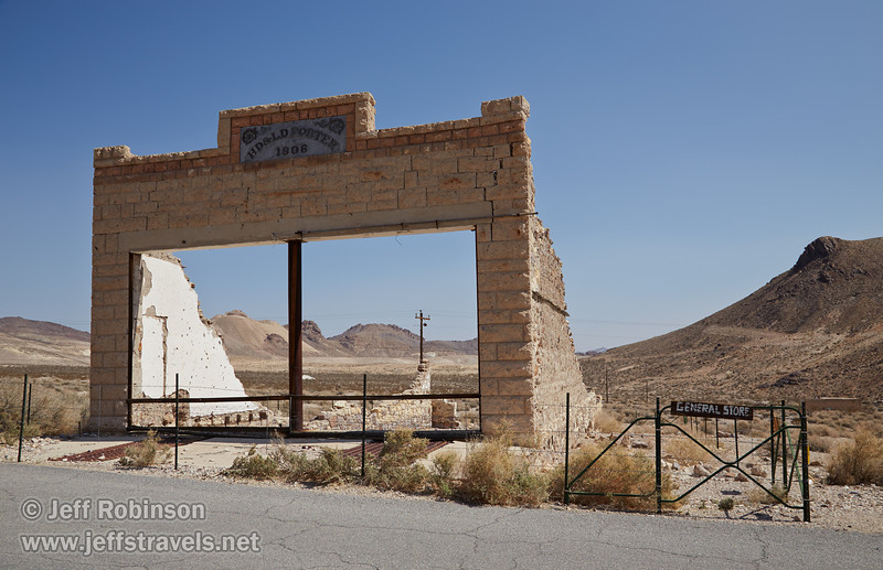 """The remains of the front of the general store, with the sign still on the front reading """"HD & LD Porter 1906"""". (3/22/2013, Rhyolite (ghost town), Death Valley trip)<br /> EF24-105mm f/4L IS USM @ 28mm f/10 1/320s ISO160"""