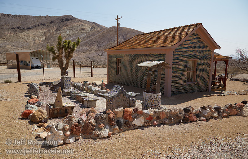 Tom Kelly's Bottle House, built out of about 30,000 empty beer bottles. The yard contains glass decorations as well. (3/22/2013, Rhyolite (ghost town), Death Valley trip)<br /> EF24-105mm f/4L IS USM @ 24mm f/9 1/320s ISO160