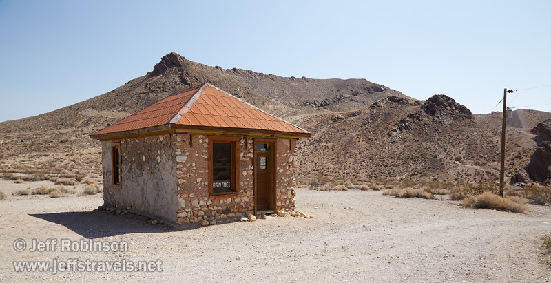 Ironically one of the best preserved (restored?) building in Rhyolite is identified as the brothel. (3/22/2013, Rhyolite (ghost town), Death Valley trip)<br /> EF24-105mm f/4L IS USM @ 24mm f/13 1/200s ISO200