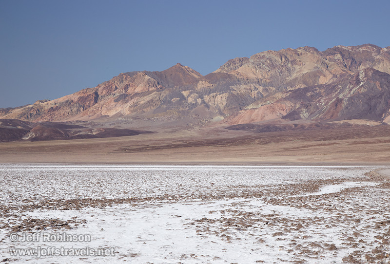 A mix of rough brown and smooth white salt pan in the foreground leads to the colorful mountains of the Amargosa Range under blue sky in the background. (3/22/2013, Devils Golf Course, Death Valley NP)<br /> EF24-105mm f/4L IS USM @ 67mm f/13 1/160s ISO400