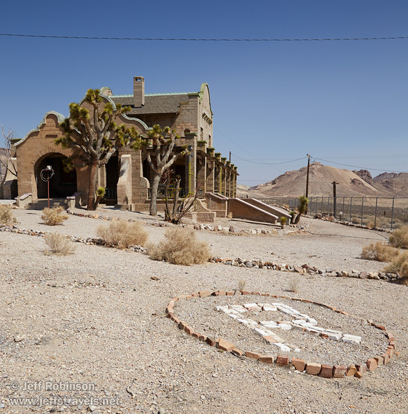 "A large rock ""R"" and joshua trees decorate the land around the old train station. (3/22/2013, Rhyolite (ghost town), Death Valley trip)<br /> EF24-105mm f/4L IS USM @ 24mm f/11 1/320s ISO200"